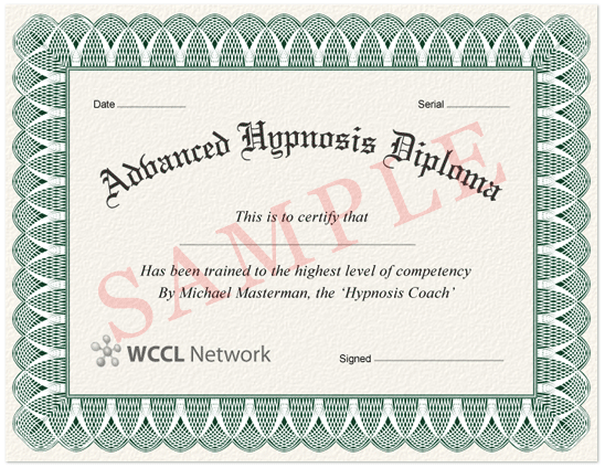 Hypnosis coach learn hypnosis learn hypnosis online sample diploma certificate yadclub Image collections